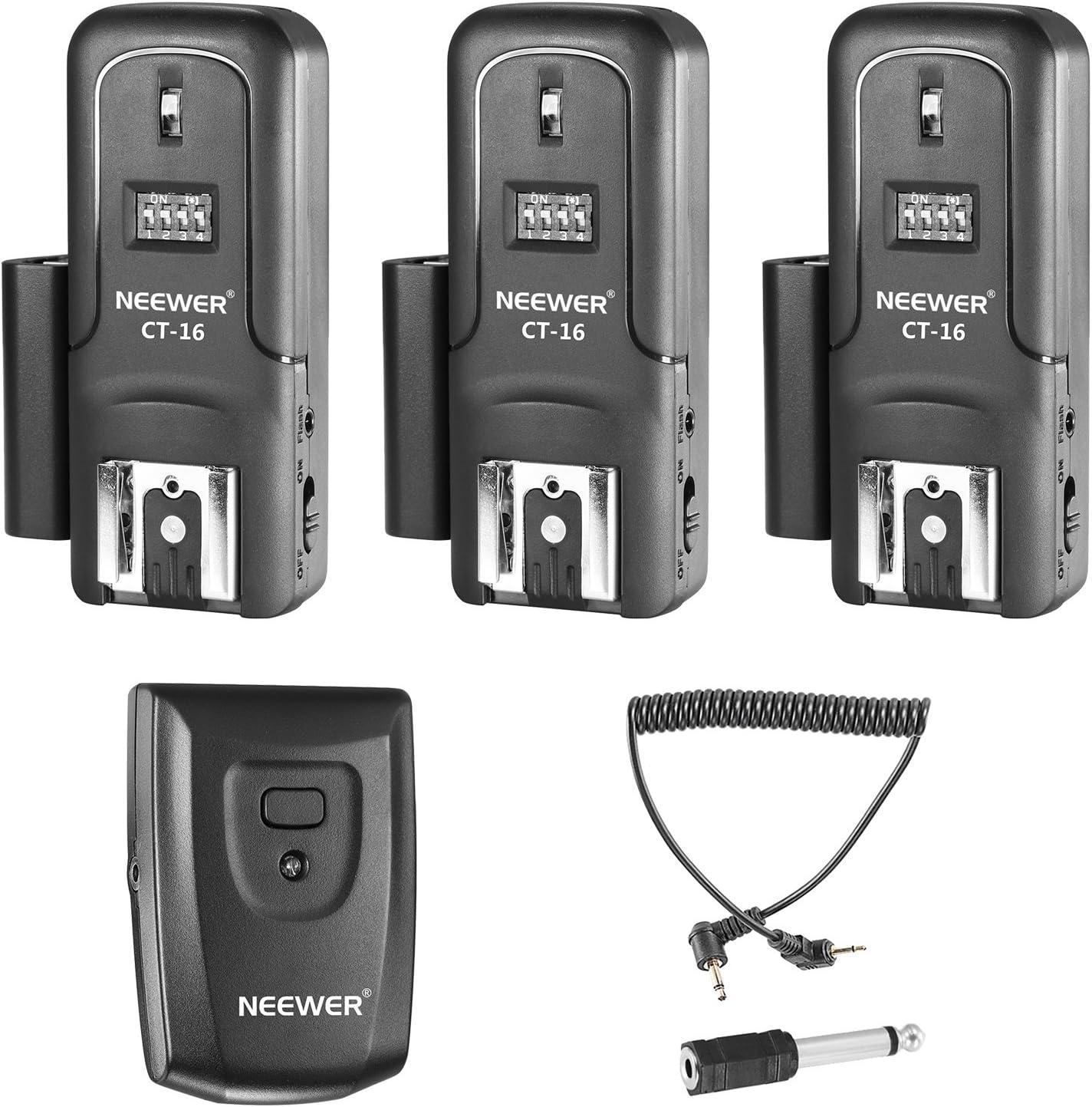 Neewer Set de Disparador de 16 Canal Inalámbrico de Flash Speedlite Radio, Incluye (1) Transmisor y (3) Receptores, compatible para Canon Nikon Pentax Olympus Panasonic Cámaras DSLR (CT-16)