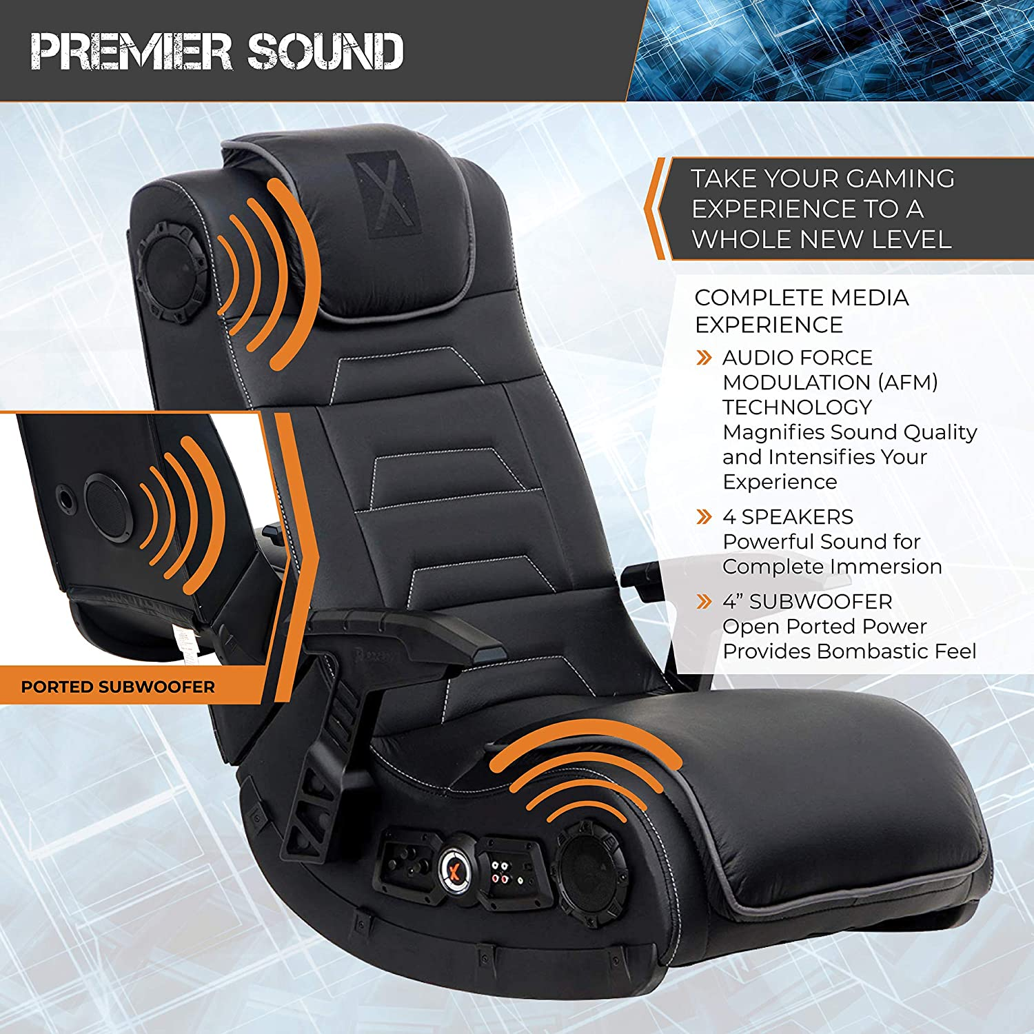 Super X Rocker Pro Series H3 Black Leather Vibrating Floor Video Gaming Chair With Headrest For Adult Teen And Kid Gamers 4 1 High Tech Audio And Evergreenethics Interior Chair Design Evergreenethicsorg