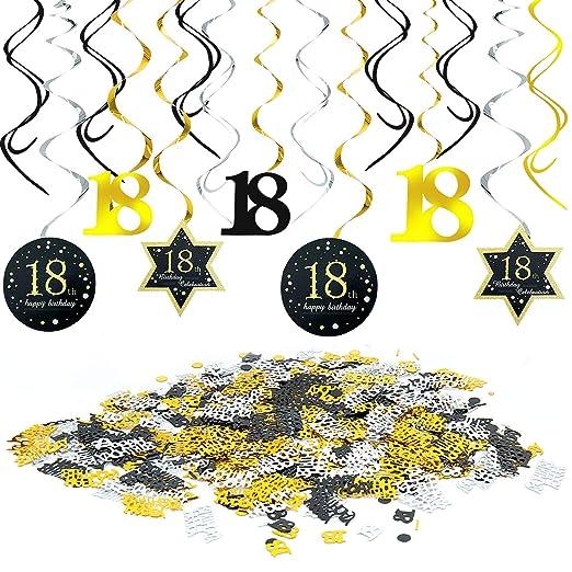 Meersee Star Decoración de cumpleaños 18 en Negro y Oro, 18 Cumpleaños Decoración Colgante Adornos de espirales y Feliz cumpleaños & 18 Mesa Confeti ...