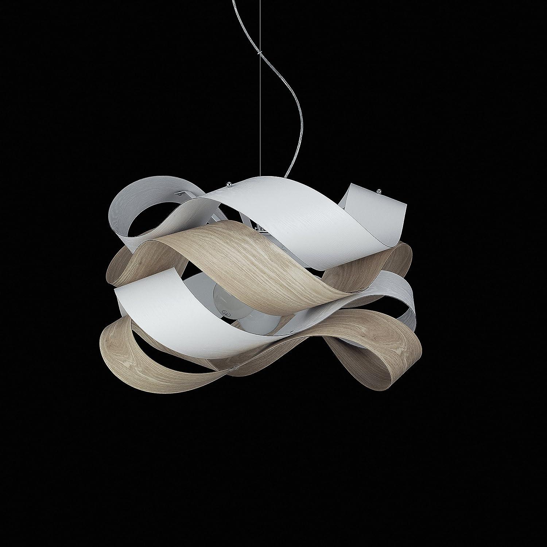 Moderna lámpara de techo con cintas de PVC Efecto Madera 4 ...