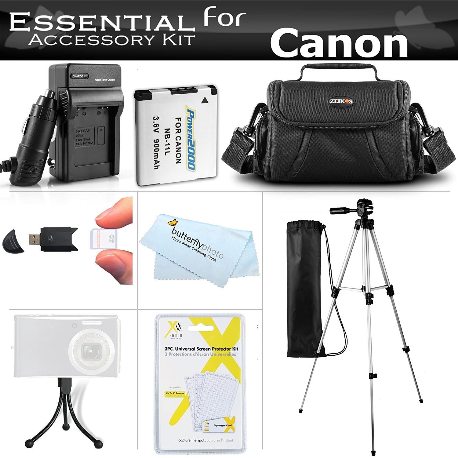 Essential Accessories Kit for Canon Powershot SX400 is, SX410 is, SX420 is Digital Camera Includes Replacement (900maH) NB-11L Battery + AC/DC Charger ...