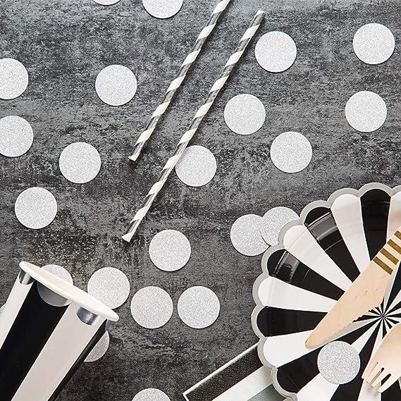 MOWO Glitter Paper Confetti Wedding Party Decor and Table Decor 1.2/'/' in Diameter silver glitter,200pc