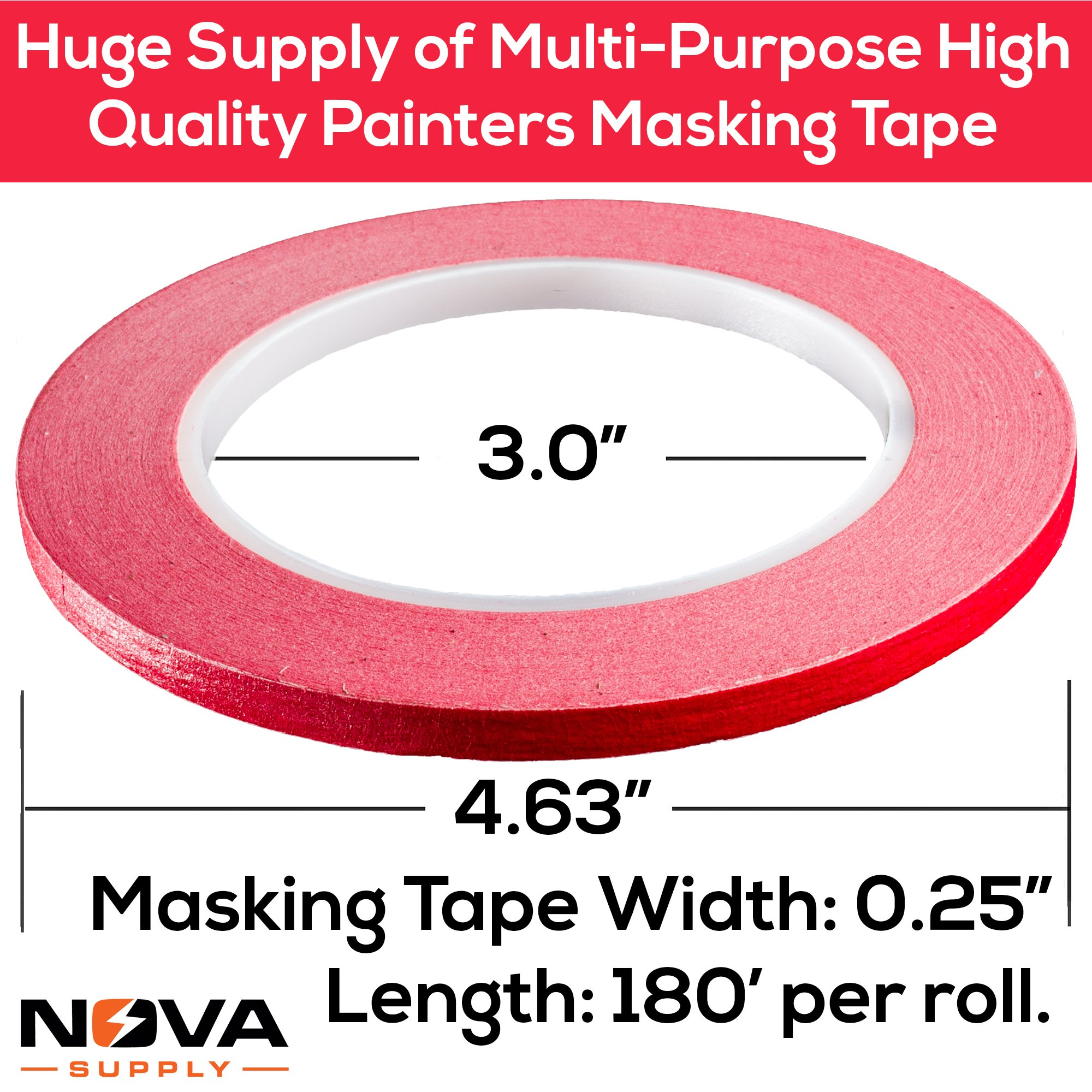 Nova Supplys 1/4in x 60yd Masking Tape, 8 Color Value Pack. Professional Grade Adhesive is Super Thin, Conforms to Irregular Surfaces, Is Easy to Tear & Release for Labeling, Painting, & Decorating. by Nova (Image #2)