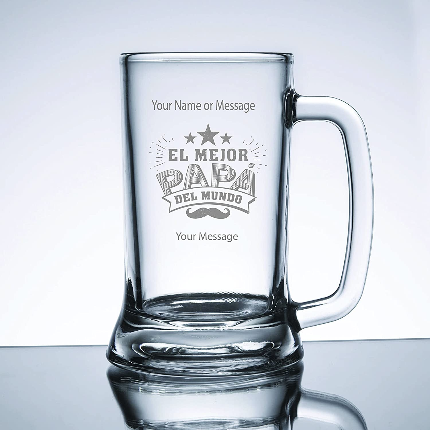 Engraved El Mejor Papa Del Mundo Beer Mug with Your Message