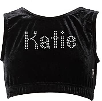 00bb6ede11df94 CrystalsRus Girls 3-4 Years Black Personalised Gymnastics Crop Top High  Neck Velvet Dance Sports
