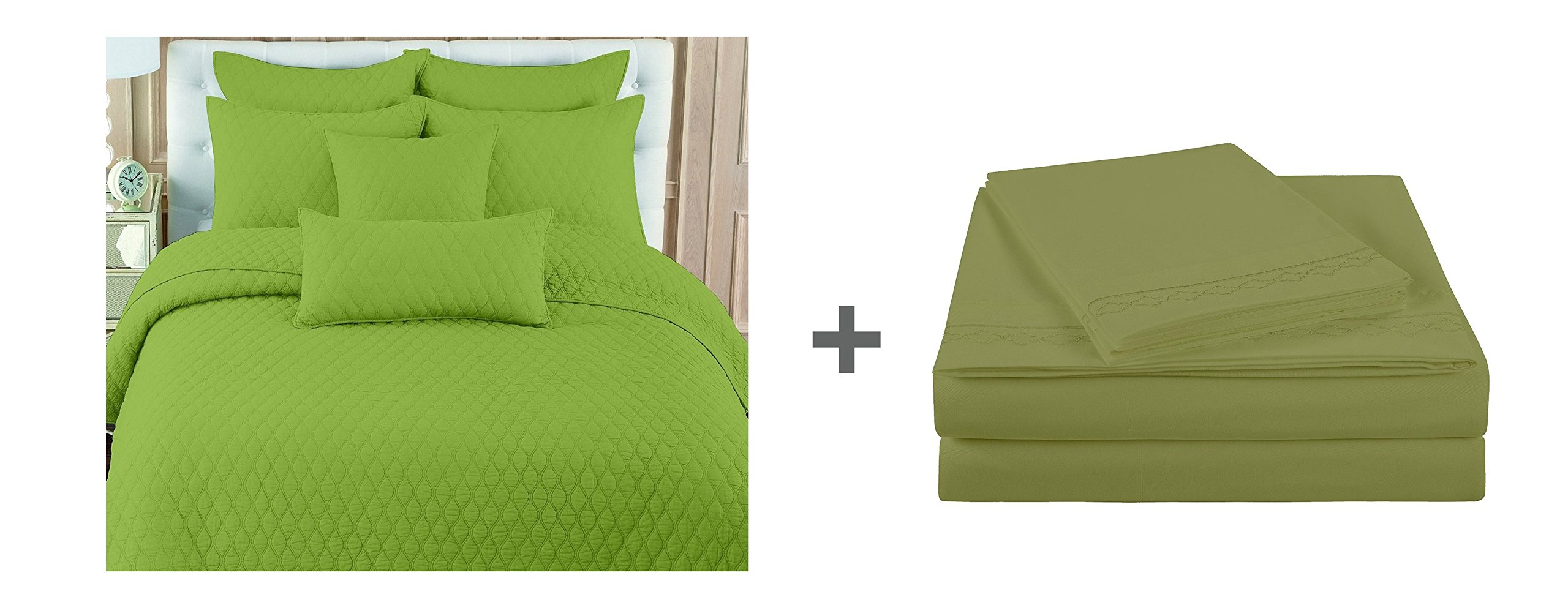 NC Home Fashions 7 pc bed in a bag:Double Ogee Quilt Sets and Geo Oval Sheet Sets,Queen,Fern
