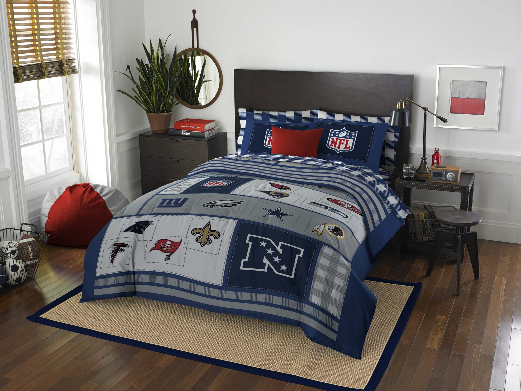 NFL Bedding Set Football AFC vs NFC Comforter Sheets and Sham (Full)