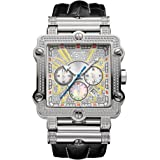 "JBW Men's JB-6215-238 ""Phantom"" Diamond And Gold or Stainless Steel Square Bezel Leather Band Watch with 3 Sub Dials"