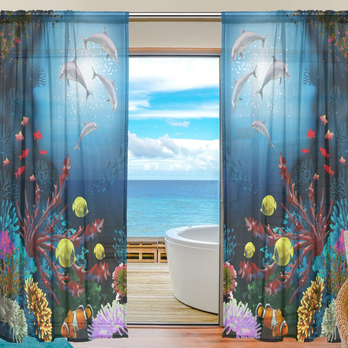 SEULIFE Window Sheer Curtain, Ocean Sea Dolphin Tropical Fish Voile Curtain Drapes for Door Kitchen Living Room Bedroom 55x78 inches 2 Panels by SEULIFE