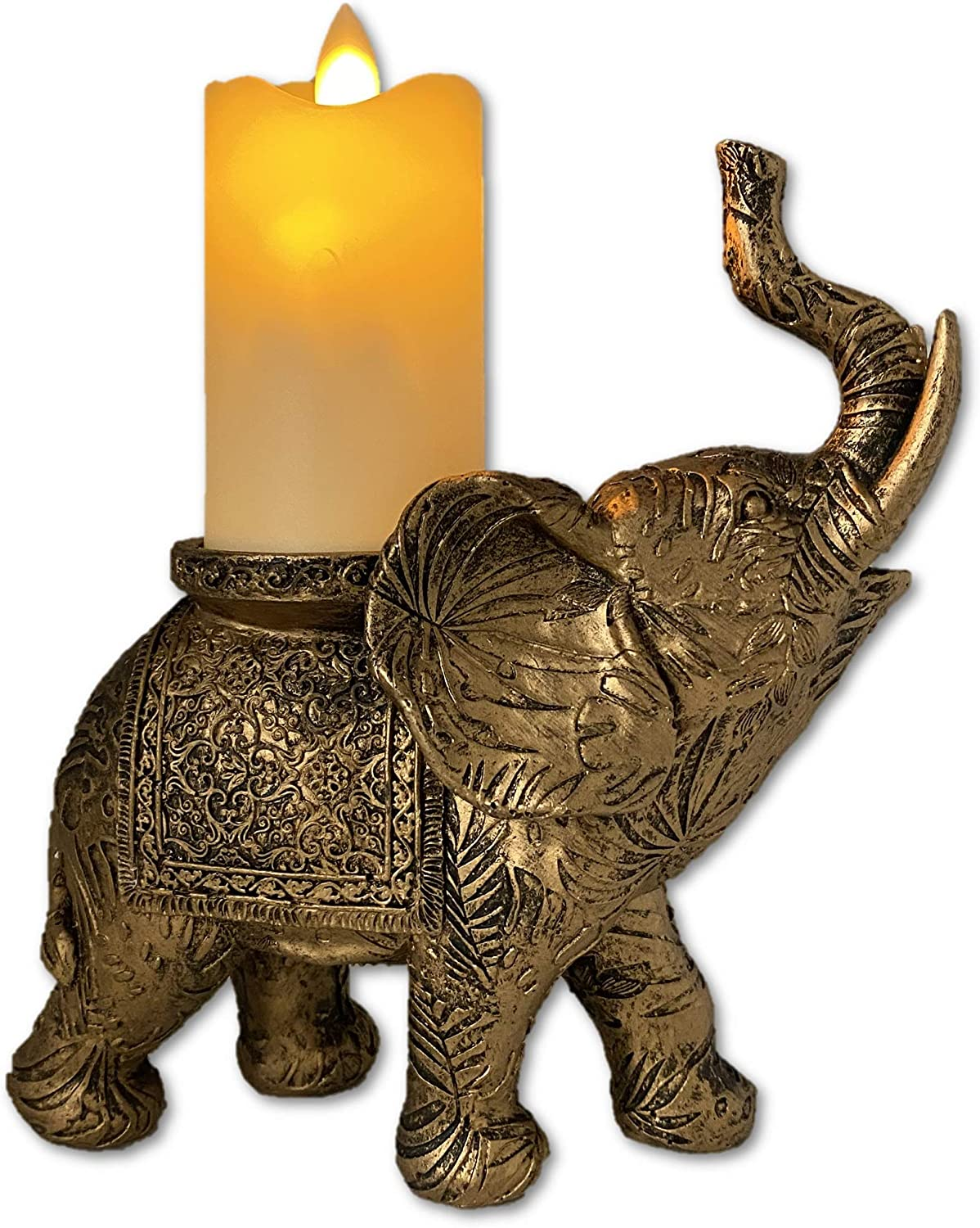 THE NIFTY NOOK Lucky Decorative Elephant with LED Flameless Candle for Home and Office