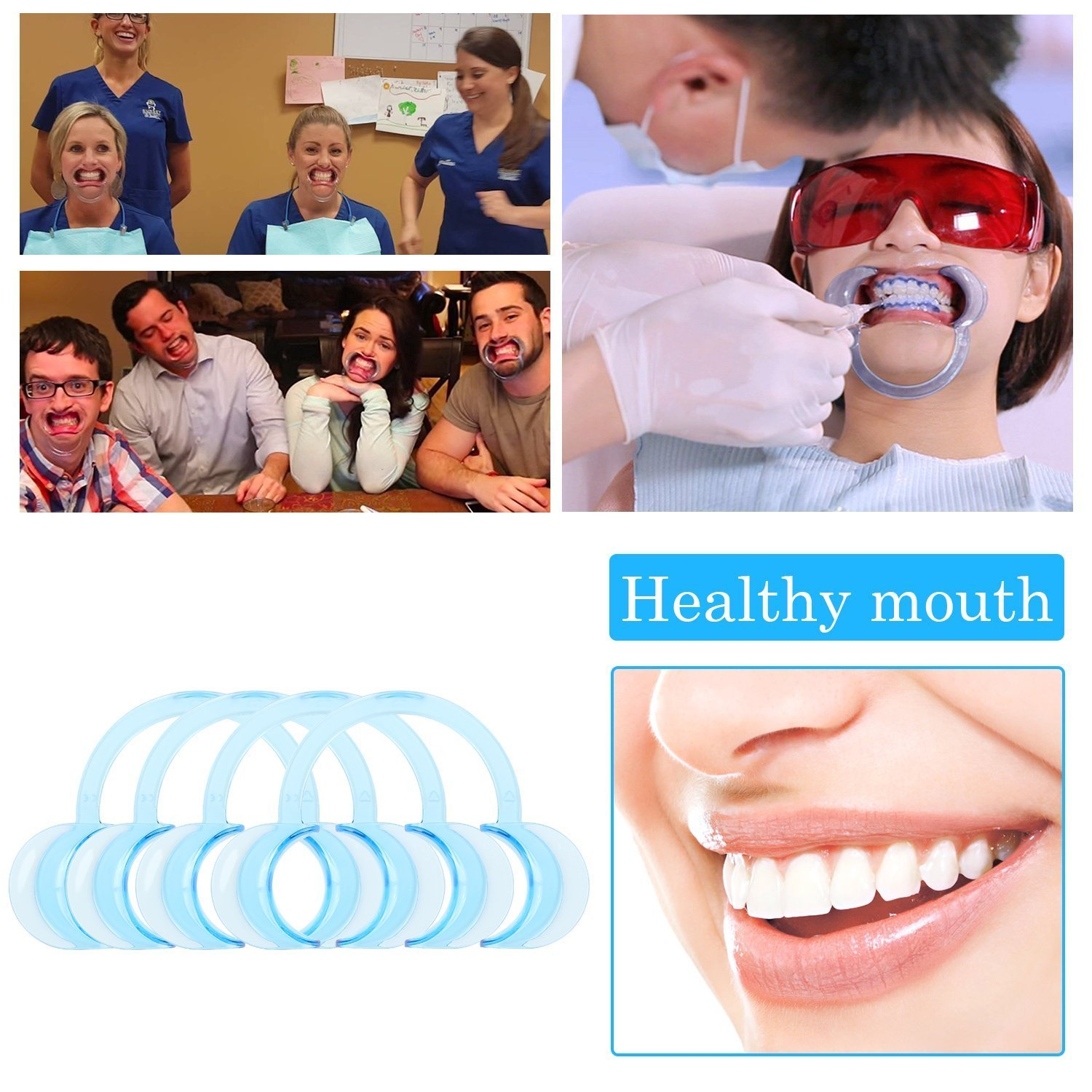 20 Pack Cheek Retractor for Watch Ya Mouth, Speak Out Game Mouth Pieces C-SHAPE, Adult & kids Teeth Whitening Intraoral Lip Retractors Mouth Opener Best Clear Blue Color (12 Medium 4 Small 4 Large)