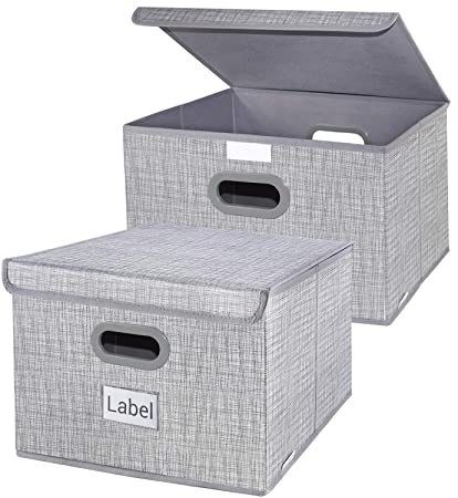 Homyfort Foldable Storage Box With Lids, Decorative Drawers Bins Baskets  With Sturdy Plastic Handles For