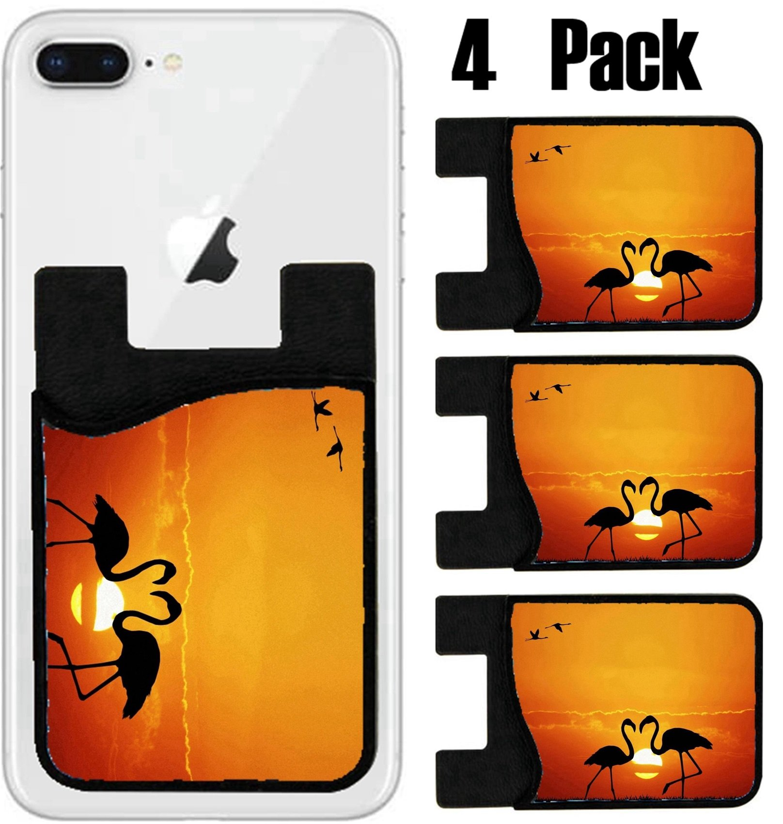 MSD Phone Card holder, sleeve/wallet for iPhone Samsung Android and all smartphones with removable microfiber screen cleaner Silicone card Caddy(4 Pack) IMAGE ID: 28429526 pink flamingos at sunset