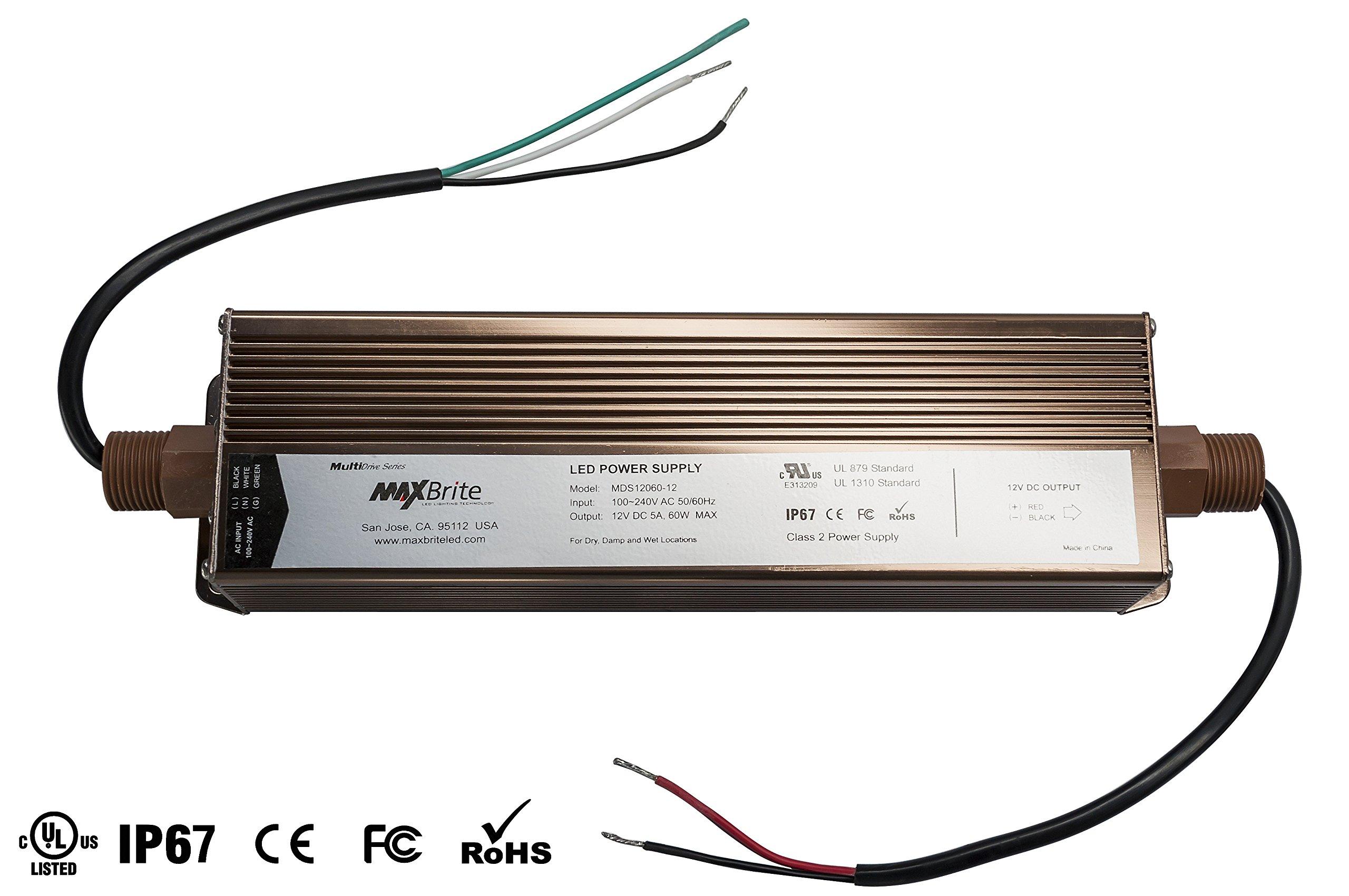 60W LED POWER SUPPLY, 12V DC Output, 100-240V AC Input, IP67 Waterproof, UL/cUL Certified, CE, RoHS, Class 2
