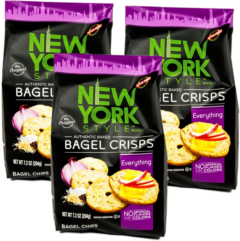 NY Style Bagel Crisps, Everything, 7.2 oz (Pack of 3)