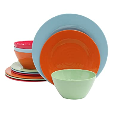 Gibson Overseas, Inc. Brist 12-Piece Dinnerware Set Break & Chip-Resistant Melamine, Indoor/Outdoor, Blue, Green, Red, Orange