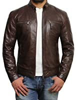 Brandslock Men's Lambskin Genuine Leather Biker Jacket