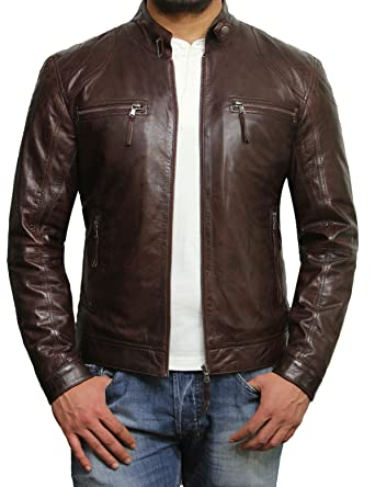 Brandslock Veste de moto en cuir d agneau pour homme en cuir d agneau   Amazon.fr  Vêtements et accessoires 9d3827fd834