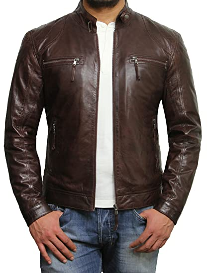 9fa01e8bb57 Brandslock Mens Genuine Lambskin Leather Biker Jacket  Amazon.co.uk   Clothing
