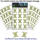 Bible Verse Christmas Stickers (96 pk)- for Kids [Christian - Religious] --New Size-- for Holiday Stocking Stuffers   Christmas Cards   Sunday School Class Party Favors - Prizes by Egglo