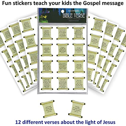 Bible Verse Stickers (96 pack) - Hands-on Kid's Fun for Christian/Religious  children's activities   Sunday School Class Prizes or Favors   Bible