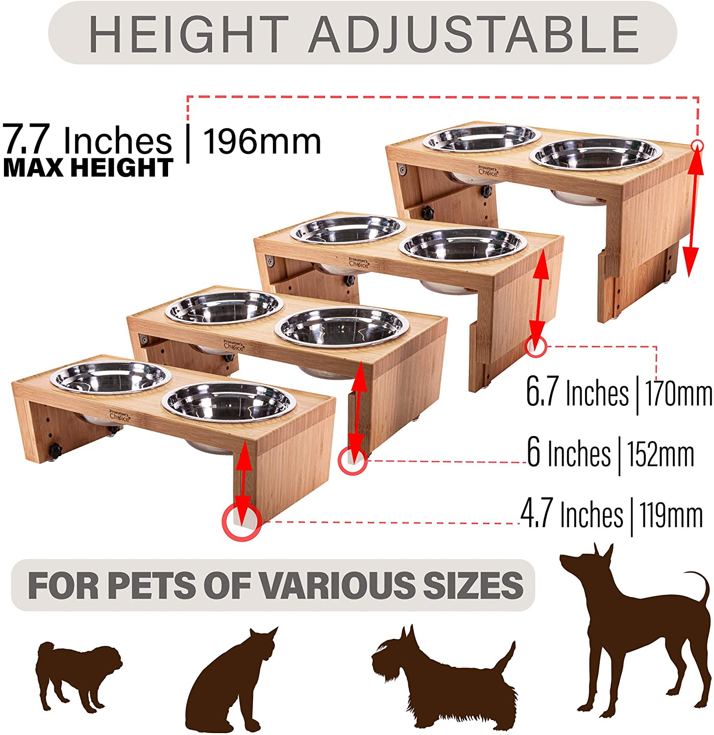 Pet Supplies : Prosumer's Choice Bamboo Adjustable Height Dog Bowls and  Stand - 4.7 to 7.7 Inches Tall : Amazon.com