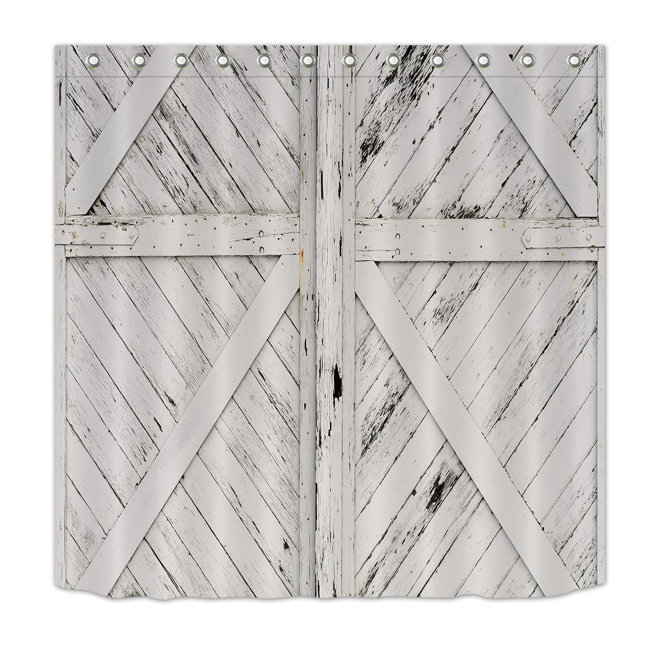 Rustic Barn Door White Painted Barn Wood Decor Shower Curtain for Bathroom by LB, Western Country Theme House Decor, Mildew Resistant Waterproof Fabric Decor Curtain, 72 x 72 Inch
