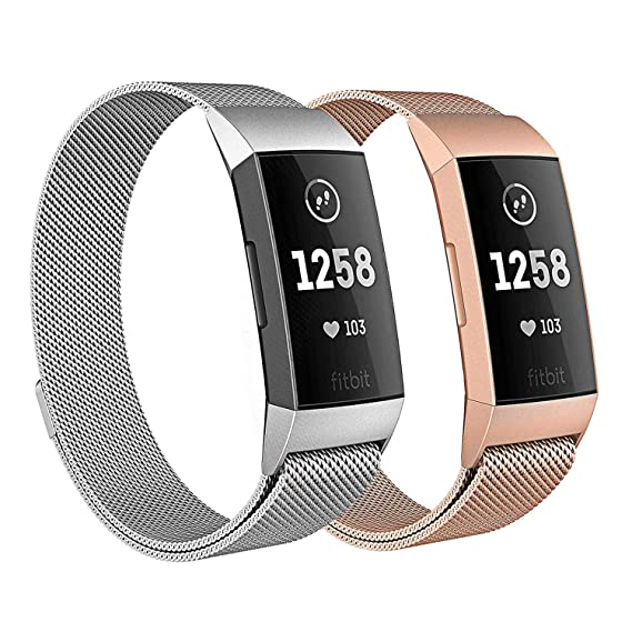 Milanese Bands for Fitbit Charge 3, SailFar 2PCS Magnetic Clasp Mesh Loop  Milanese Stainless Steel Metal Bracelet Strap/Watch Band for Fitbit Charge