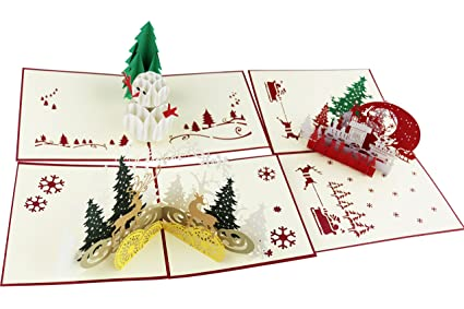 Amazon Meccion 3d Christmas Cards Handmade Paper Craft Pop Up