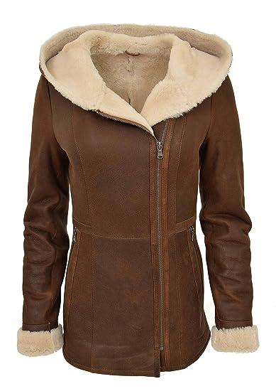 e8700063ca56 Womens Mid Length Fitted Real Sheepskin Hooded Jacket Rust Merino Shearling  Duffle Coat Bella (10
