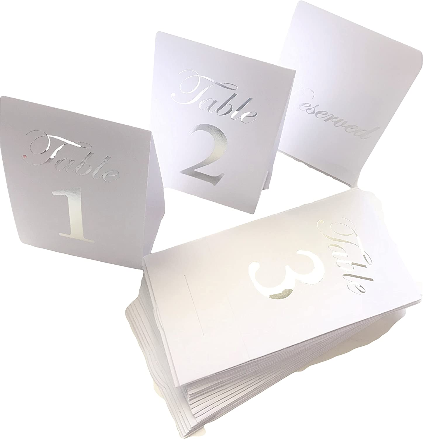 Number Place Cards Wedding Reception Party Placecards White//Silver Table No