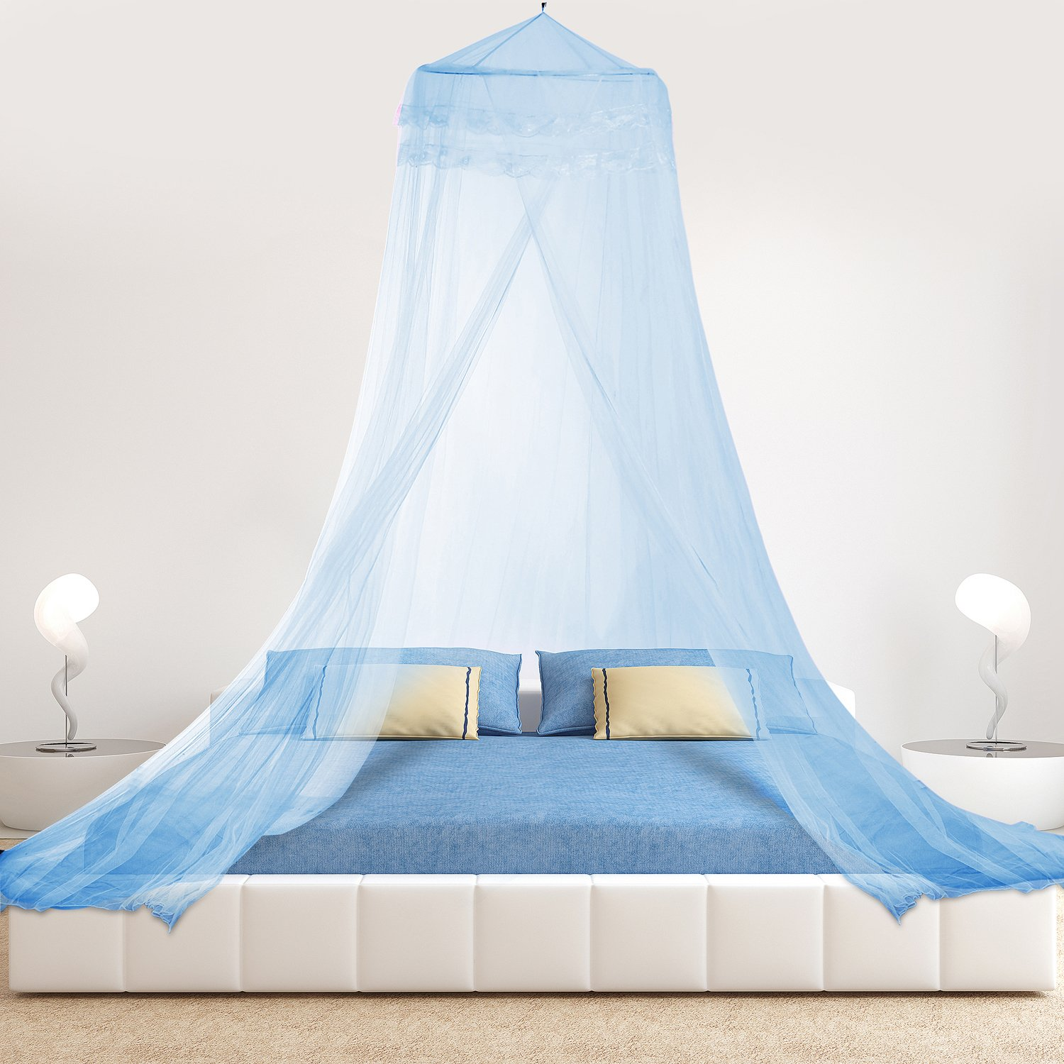HIG Mosquito Net Bed Canopy Lace Dome, Full, Blue