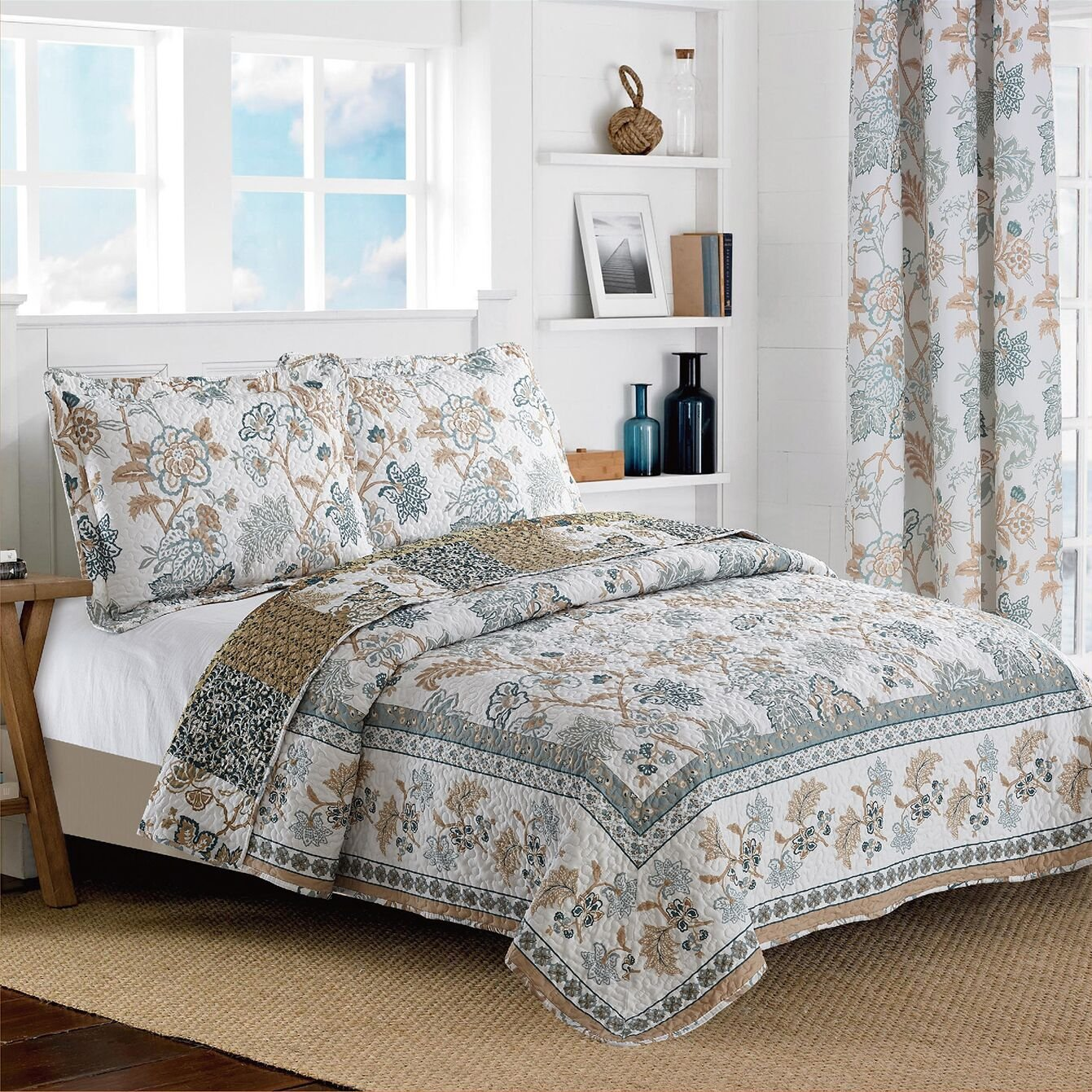 All American Collection New Reversible 3pc Floral Printed Blue/White Bedspread/Quilt Set Queen Size