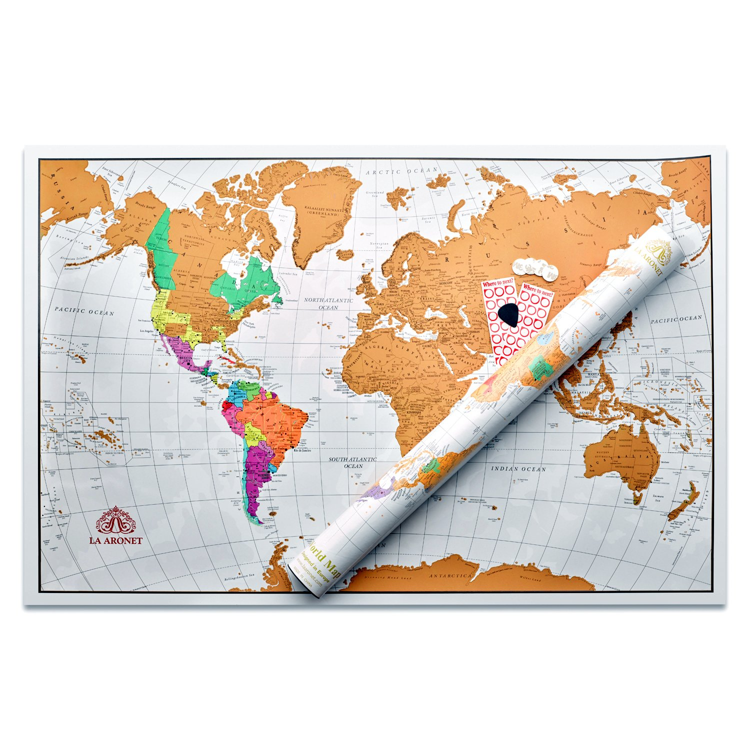 Where To Buy Large World Map.Amazon Com La Aronet Scratch Off World Map World Poster With