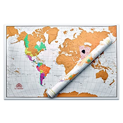 Large Map Of The World Poster.Amazon Com La Aronet Scratch Off World Map World Poster With