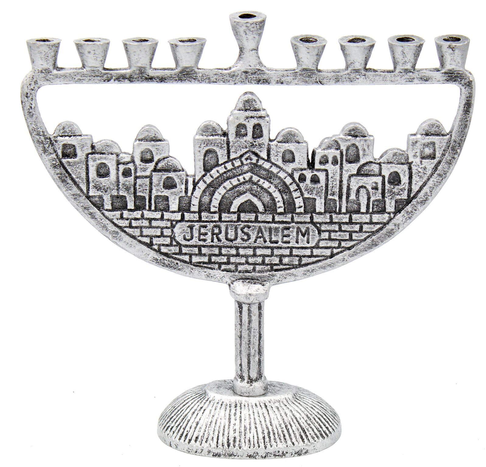 Hanukkah  Menorah Jerusalem Old City Antique Silver Finish by The Dreidel Company