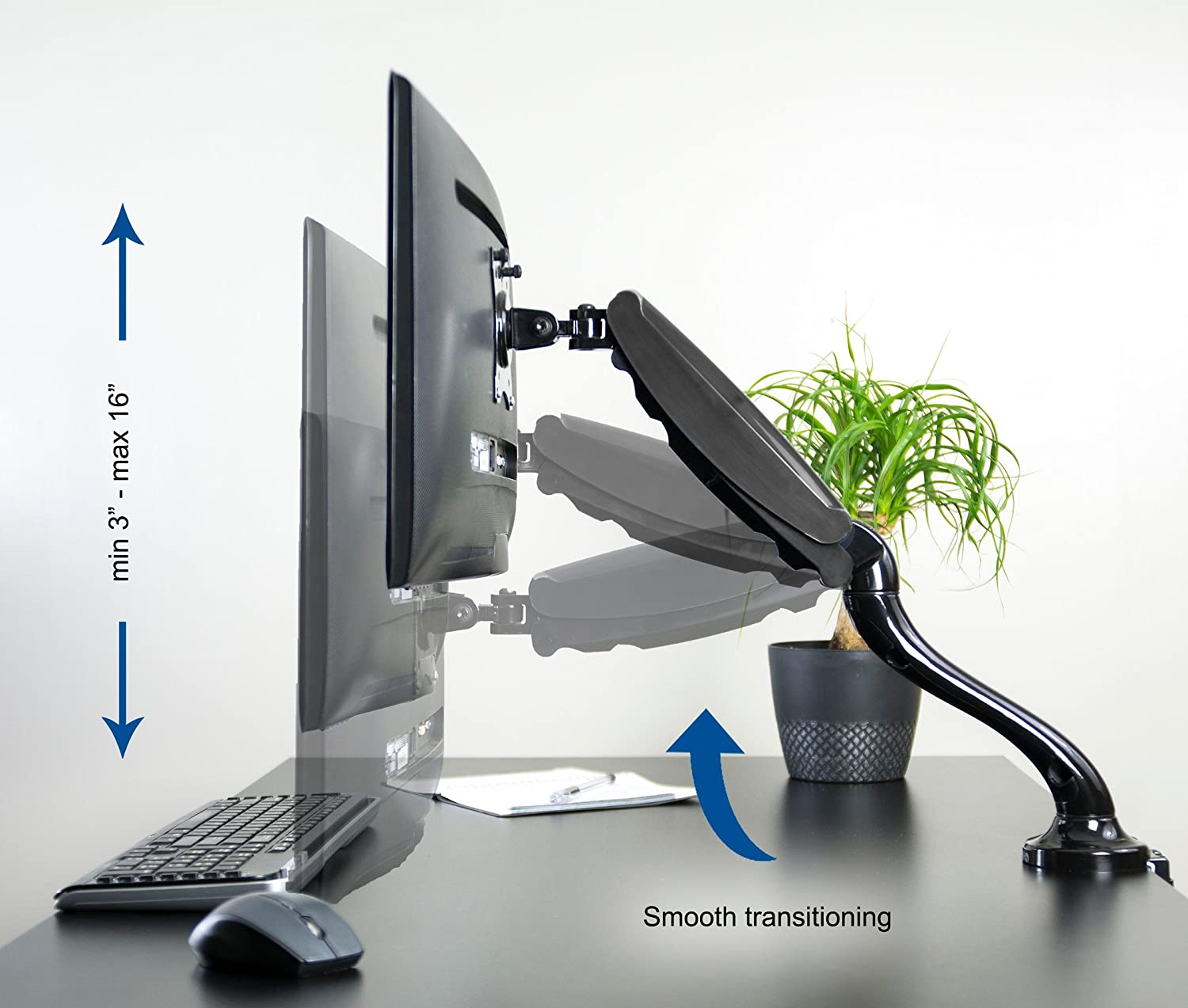 Amazon com vivo triple lcd monitor desk mount stand heavy duty fully - Amazon Com Vivo Single Lcd Monitor Desktop Mount Stand Black Deluxe With Gas Spring For 1 Screen Up To 27 Stand V001b Computer Monitor Stands