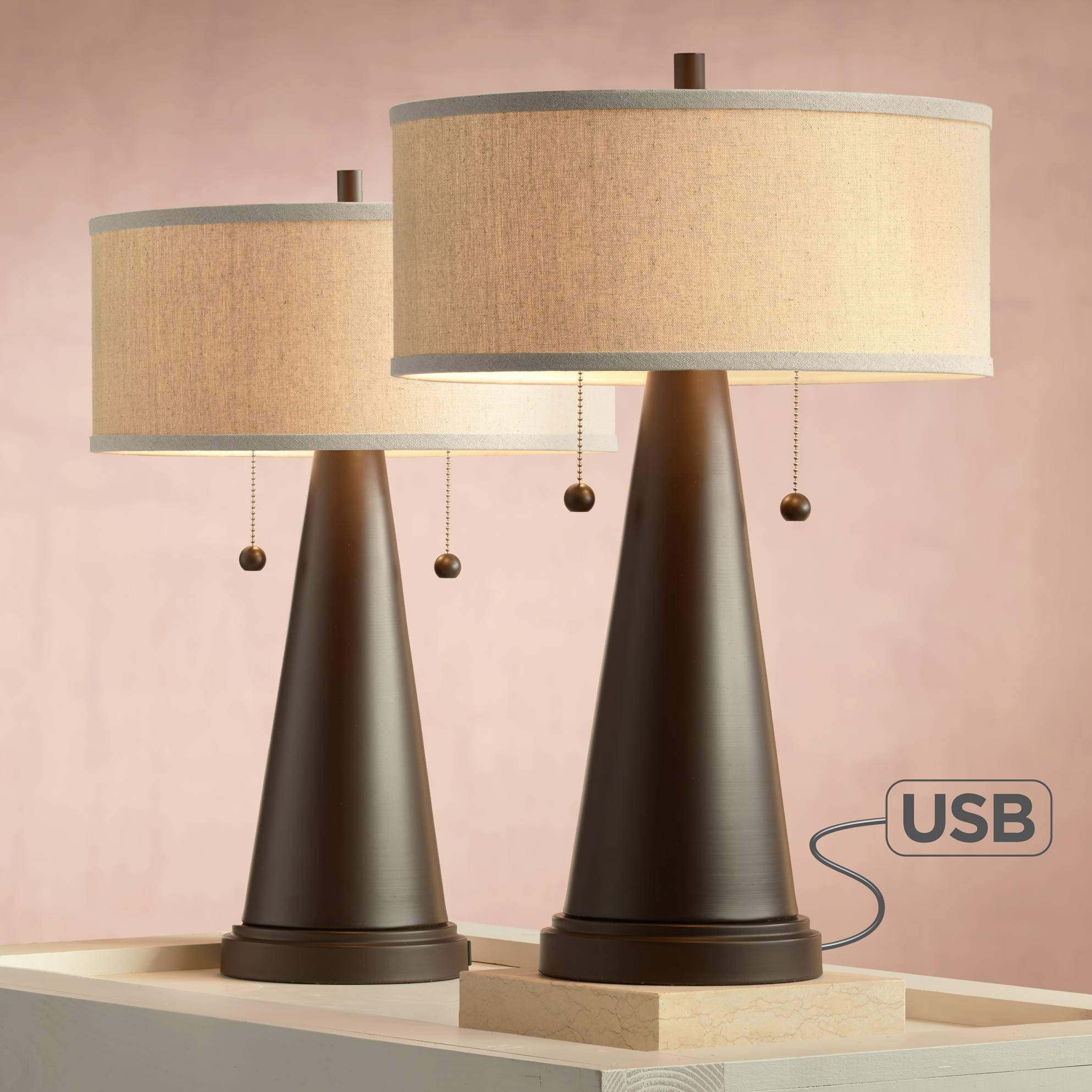 Craig Mid Century Modern Accent Table Lamps Set of 2 with Hotel Style USB Port Bronze Metal Natural Linen Drum Shade for Bedroom - Franklin Iron Works