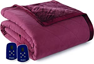 Thermee Micro Flannel Electric Blanket with Ultra Velvet, Sangria, King