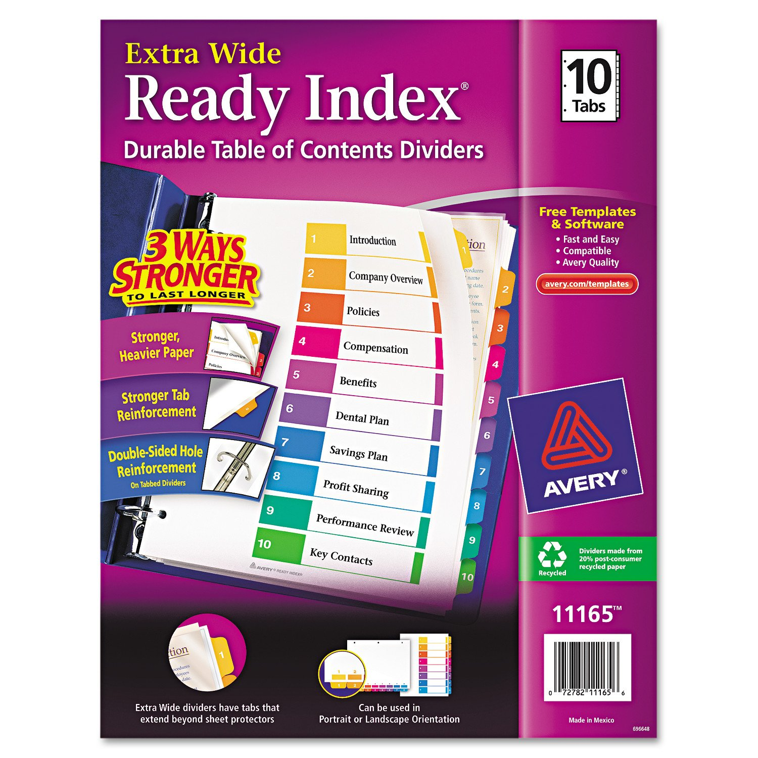 Avery Extrawide Ready Index Dividers, Assorted, 10 Tabs, 1 Set
