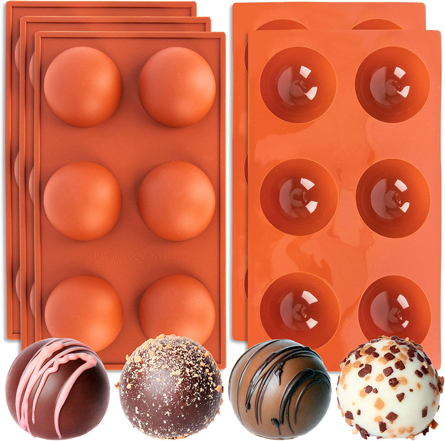 Rictex 6 Holes Silicone Molds for Chocolate Bombs, Silicone Baking Mold for Chocolate, Cake, Jelly, Pudding, Handmade Soap, Round Shape. 5 PACK