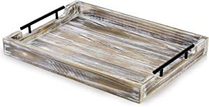 Tausi Wooden Decorative Rustic Tray for Ottoman |Coffee Table Decor | Serving Kitchen Tray with Metal Handles | Breakfast in Bed | Dinning Centerpiece Trays | Farmhouse Home Decoration (White WASH)