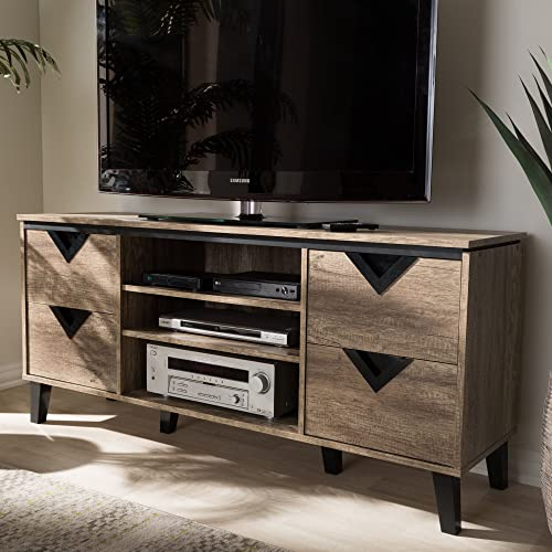 Baxton Studio Beacon TV Stand Contemporary/Light Brown/Particle Board