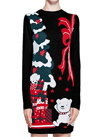women christmas sweater v28 ugly ladies girls cute bear xmas knit sweater dress xs - Vintage Christmas Sweater