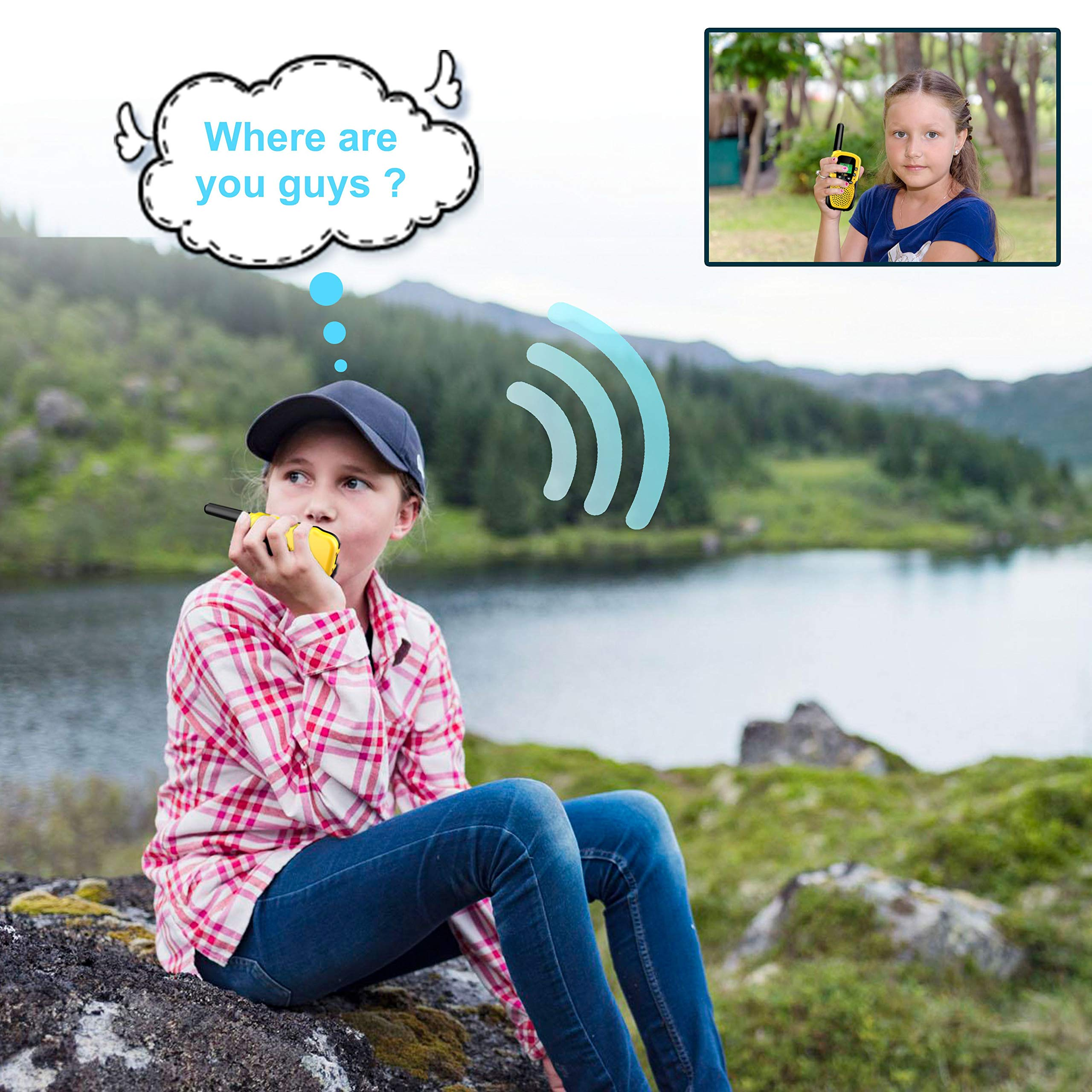 Walkies Talkies for Kids, 22 Channels FRS/GMRS UHF Two Way Radios 4 Miles Handheld Mini Kids Walkie Talkies for Kids Best Gifts Kids Toys Built in Flashlight by JimBest1970 (Image #4)