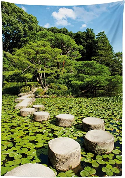 Yeuss Zen Mantel, Camino de Piedra en Jardín japonés Hojas de Loto del Lago Meditación Naturaleza Paisaje, Comedor Cocina Cubierta de Mesa Rectangular, Verde Lima Azul Cielo, 60 x 90 Pulgadas: Amazon.es: