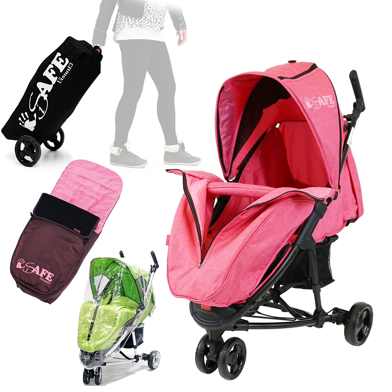 iSafe Visual 3 (2017) -Raspberry Pink Complete With Bumper Bar, Bootcover, Foot Muff, Travel Bag, Rain Cover ISAFEVI3 - BG+fm+trt bag+rc
