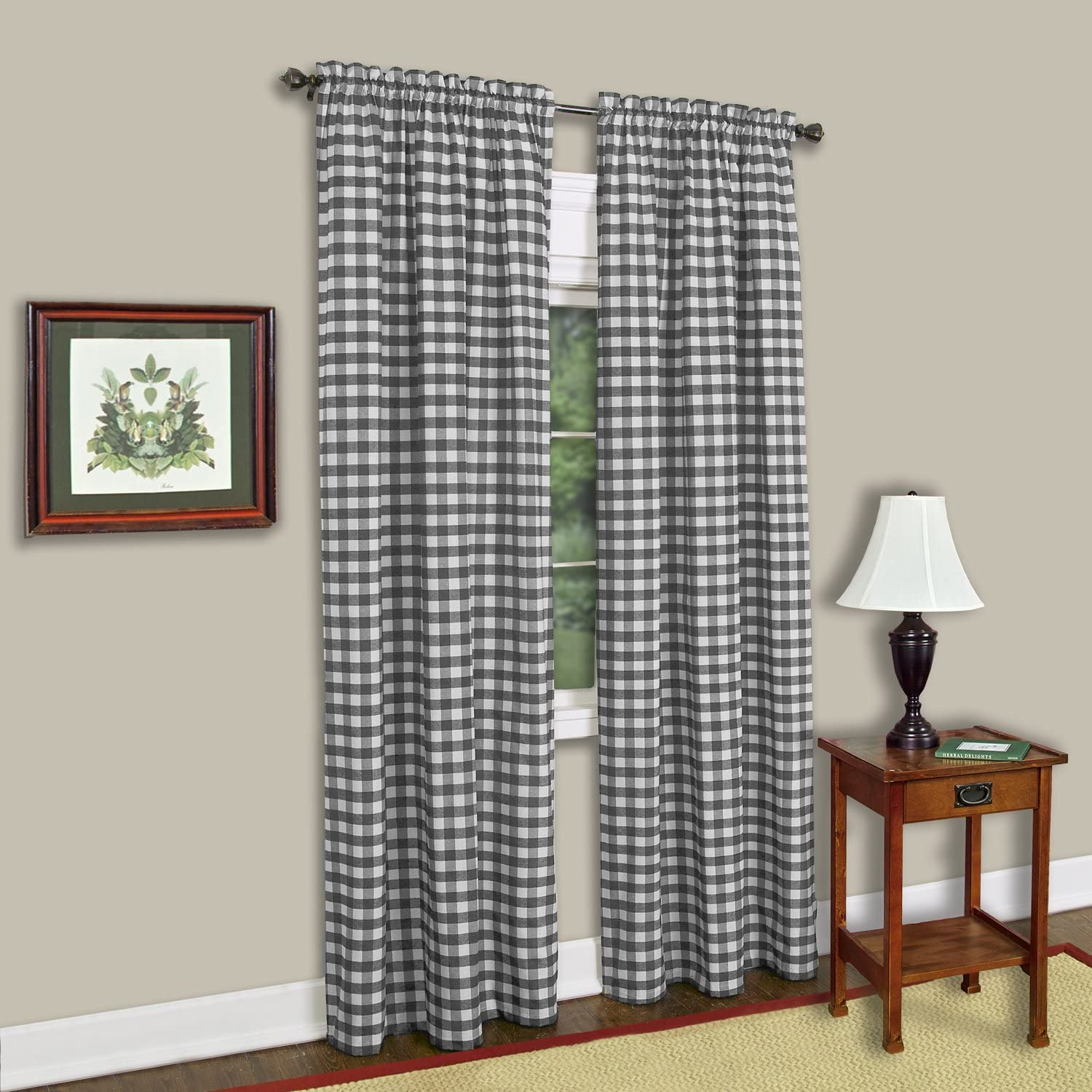 "Achim Home Furnishings Single Panel Buffalo Check Window Curtain, 42"" x 63"", Black & White"
