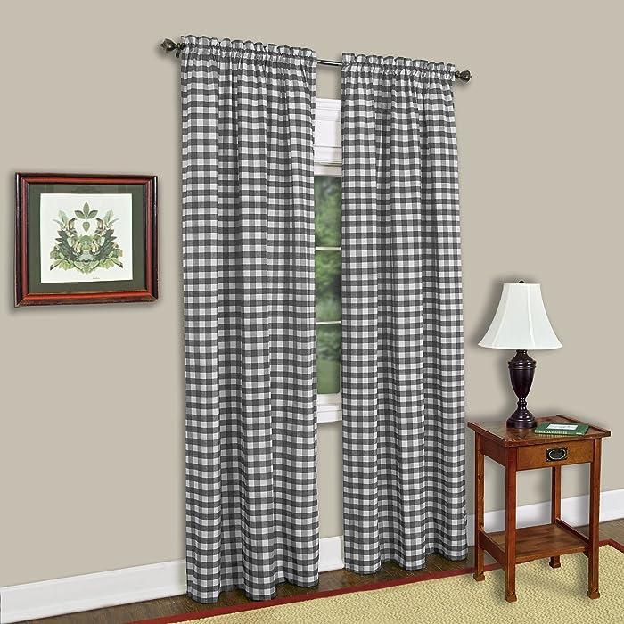 "Achim Home Furnishings Buffalo Check Window Curtain Panel (Single Curtain), 42"" x 84"", Black & White"