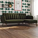 Novogratz 2277929N Green Linen Brittany Sectional Futon Sofa, Converts from Sofa & Chaise Lounger to Bed